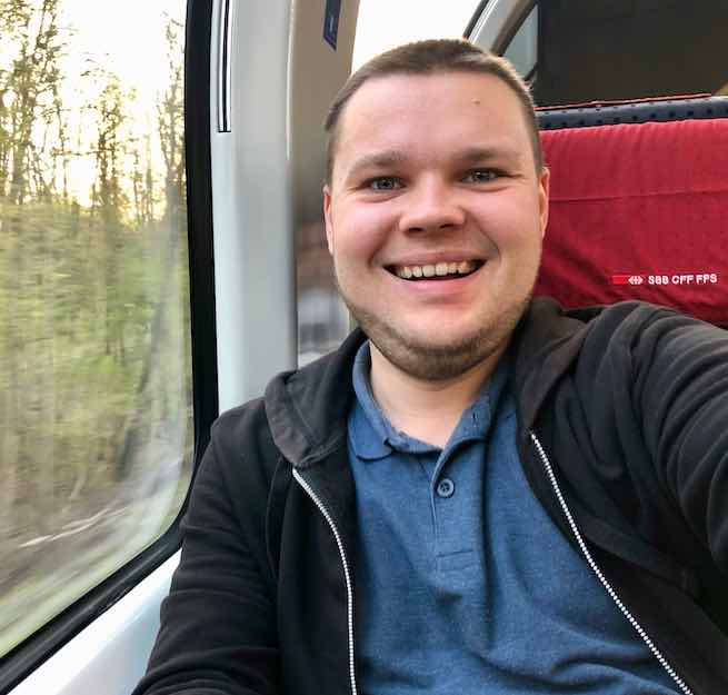Dominik Peters, selfie on train EC 9 near Bremen, April 2019